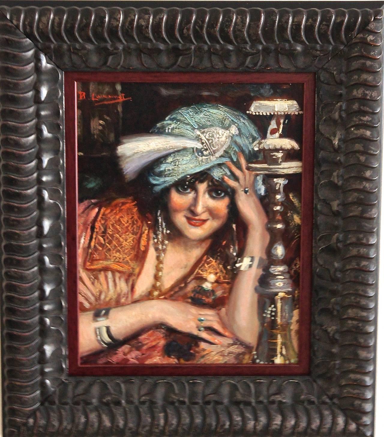 RESERVED for Franklin. Erotic Art Nouveau Lady Portrait