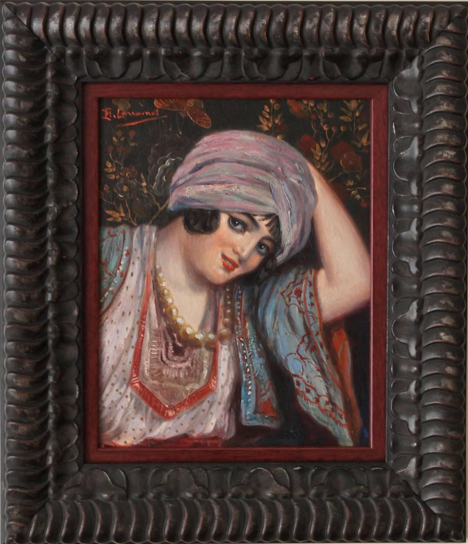 Pair of French Orientalist Paintings of Harem Ladies by