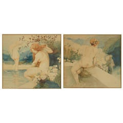 Pair of Art Nouveau Watercolor Paintings with Nudes by A. Crommen 1918