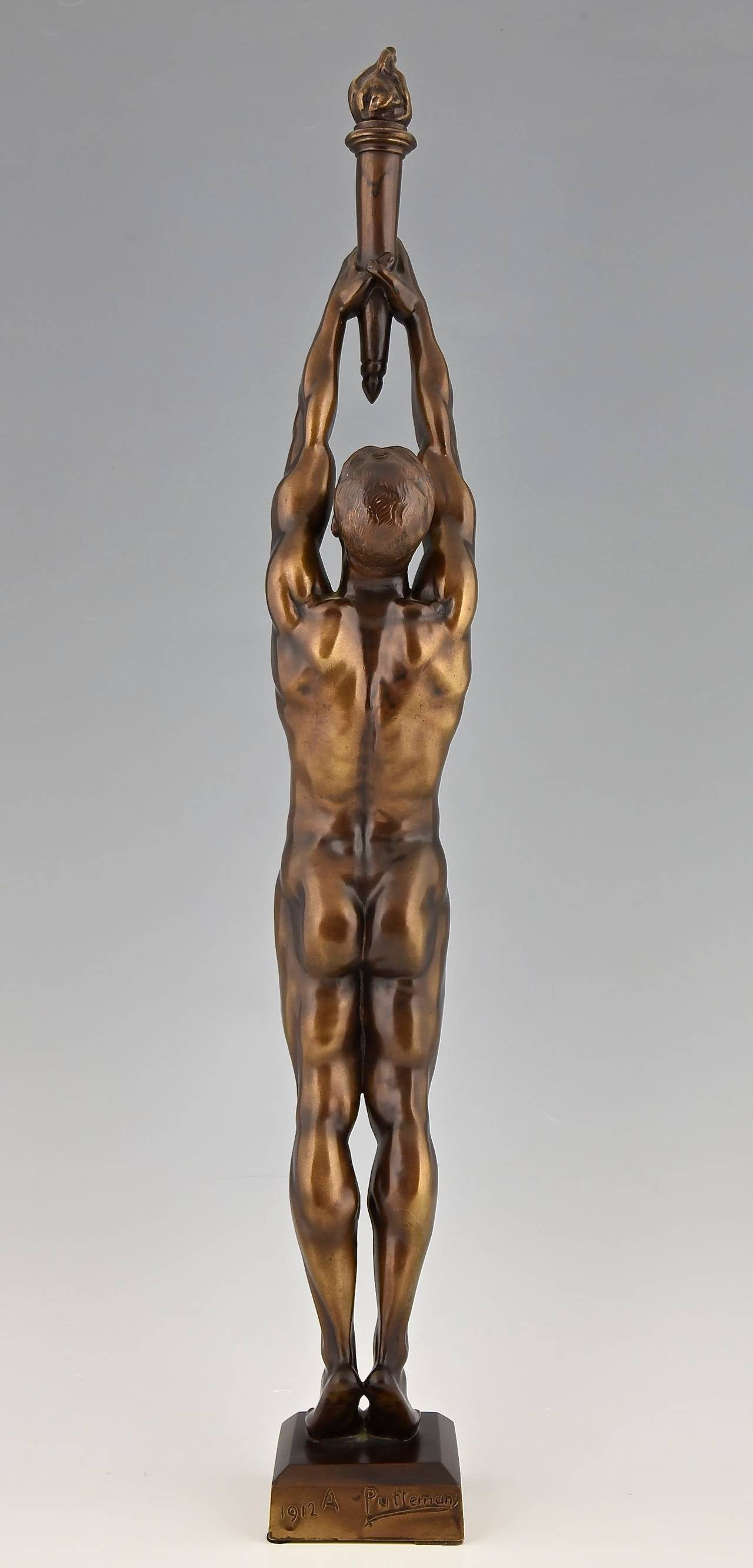 Patinated Bronze Sculpture of a Male Nude with Torch by A. Puttemans, Belgium, 1912