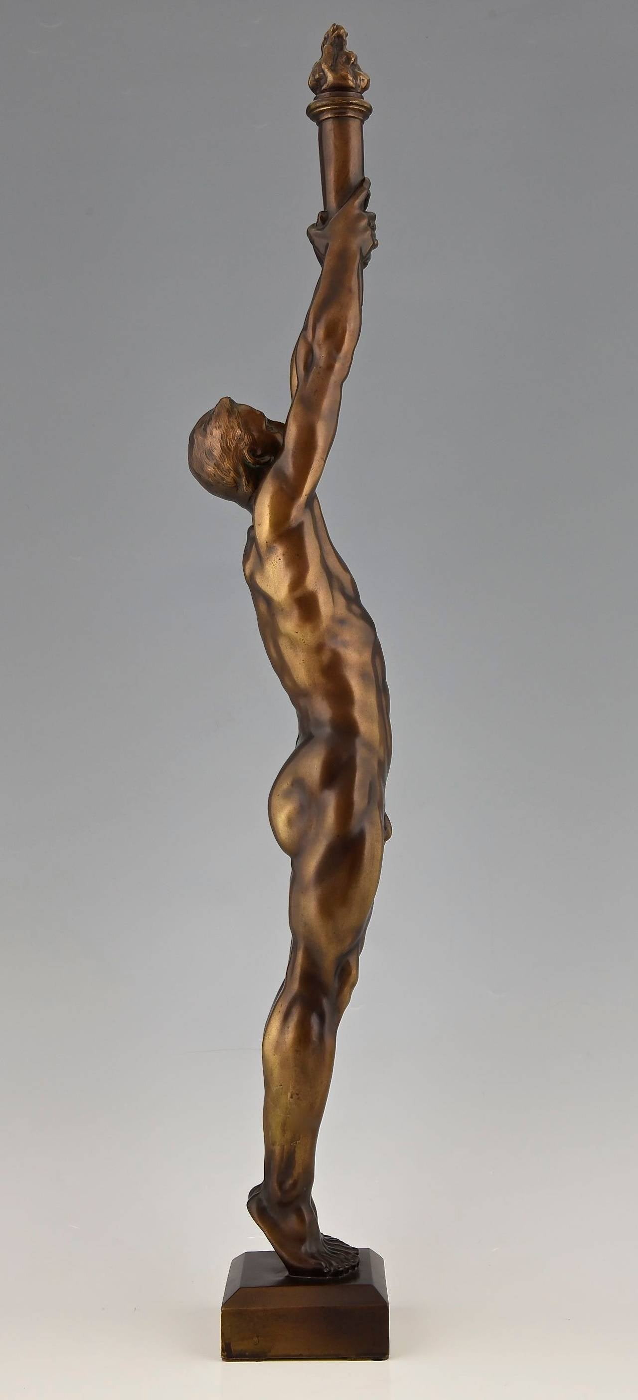 Bronze Sculpture of a Male Nude with Torch by A. Puttemans, Belgium, 1912 In Excellent Condition In Antwerp, BE