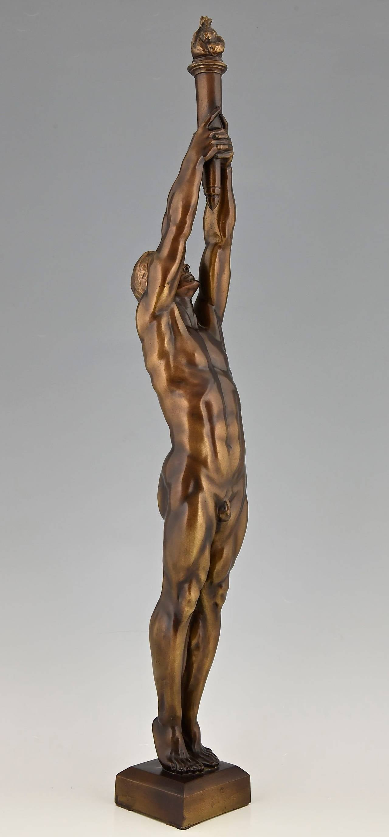 20th Century Bronze Sculpture of a Male Nude with Torch by A. Puttemans, Belgium, 1912
