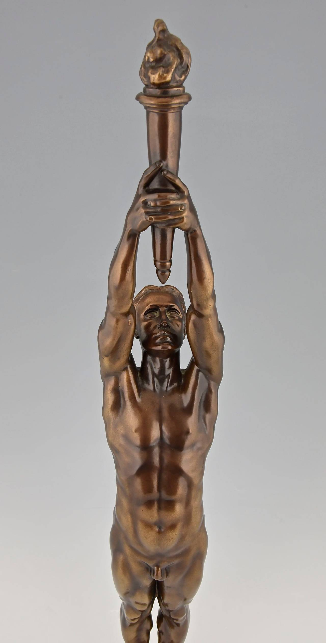 Bronze Sculpture of a Male Nude with Torch by A. Puttemans, Belgium, 1912 1