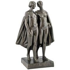 Art Deco Bronze Sculpture of Two Nudes by Pierre Lenoir , 1930 France