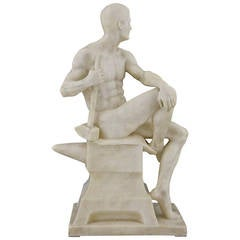 Antique Marble Sculpture of a Male Nude by Franz Iffland, 1890, Germany
