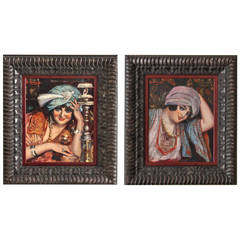 Pair of French Orientalist Paintings of Harem Ladies by Hilaire Larramet, 1900
