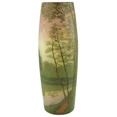 Art Nouveau cameo glass landscape vase with enamel by Legras.