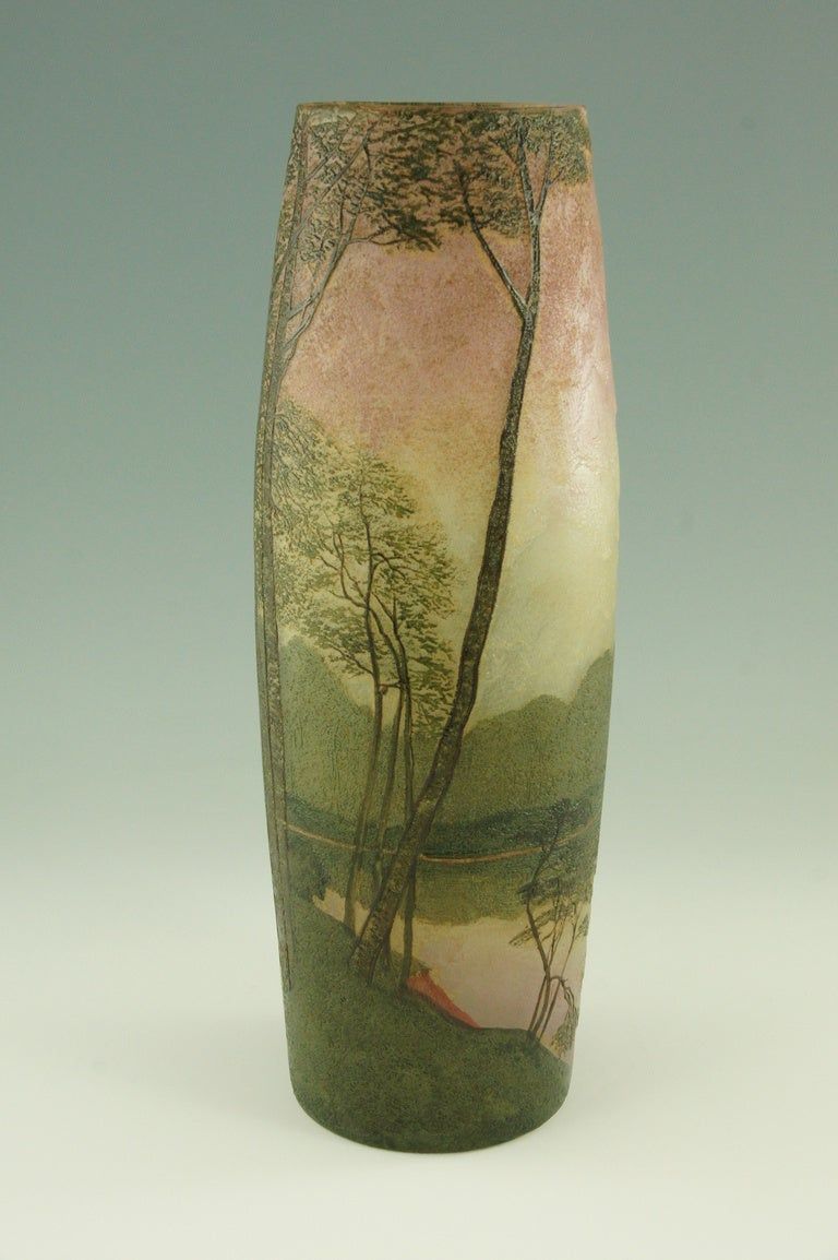art nouveau cameo glass landscape vase with enamel by legras at 1stdibs. Black Bedroom Furniture Sets. Home Design Ideas