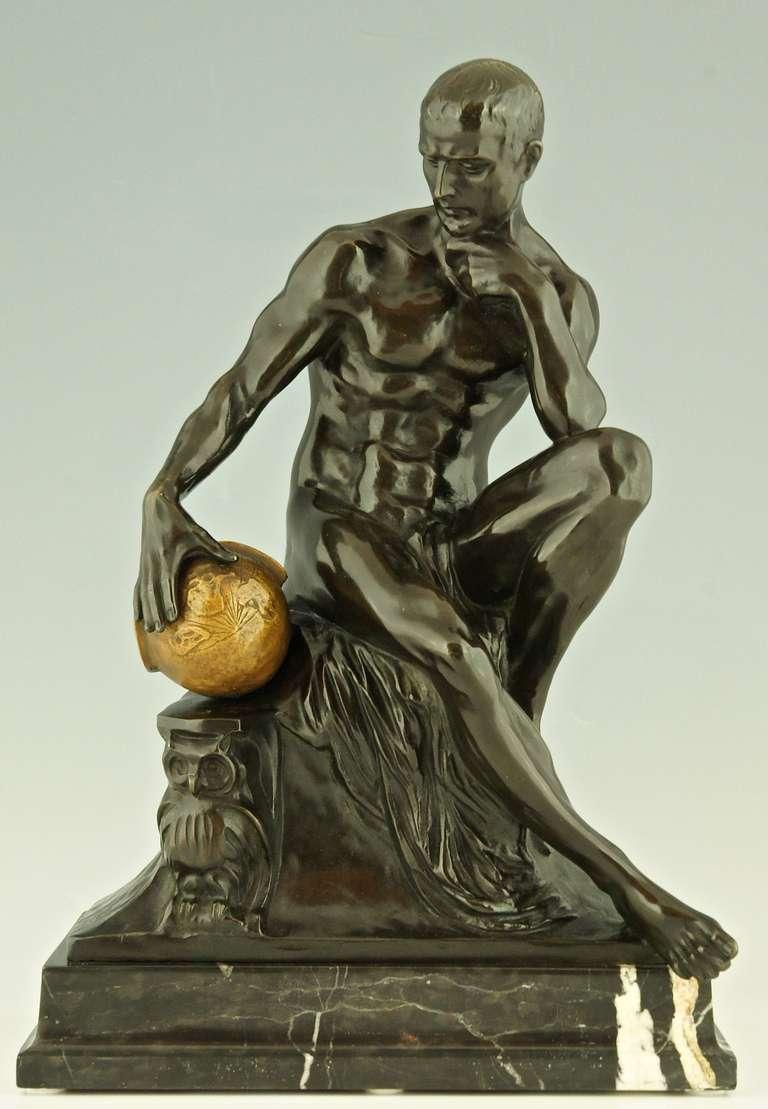 Large antique European bronze nude sculpture of Narcissus