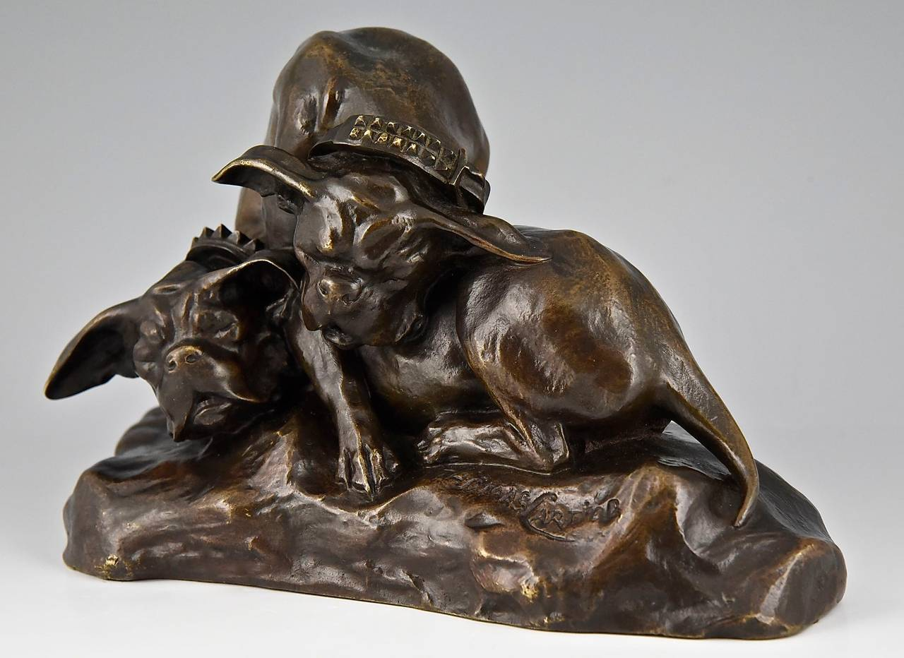 Romantic Bronze Bulldog sculpture by Thomas Cartier France 1900  For Sale
