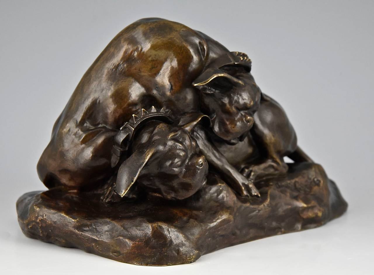 20th Century Bronze Bulldog sculpture by Thomas Cartier France 1900  For Sale