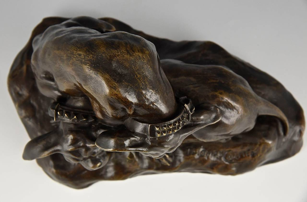 Bronze Bulldog sculpture by Thomas Cartier France 1900  For Sale 1