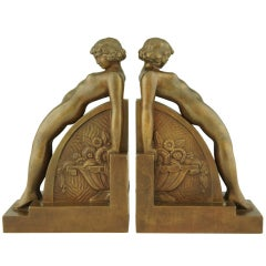 A pair of Art Deco bookends with nudes by F. Bazin