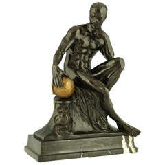 """""""Science"""" Antique bronze of a seated male nude by Franz Iffland, 1890."""