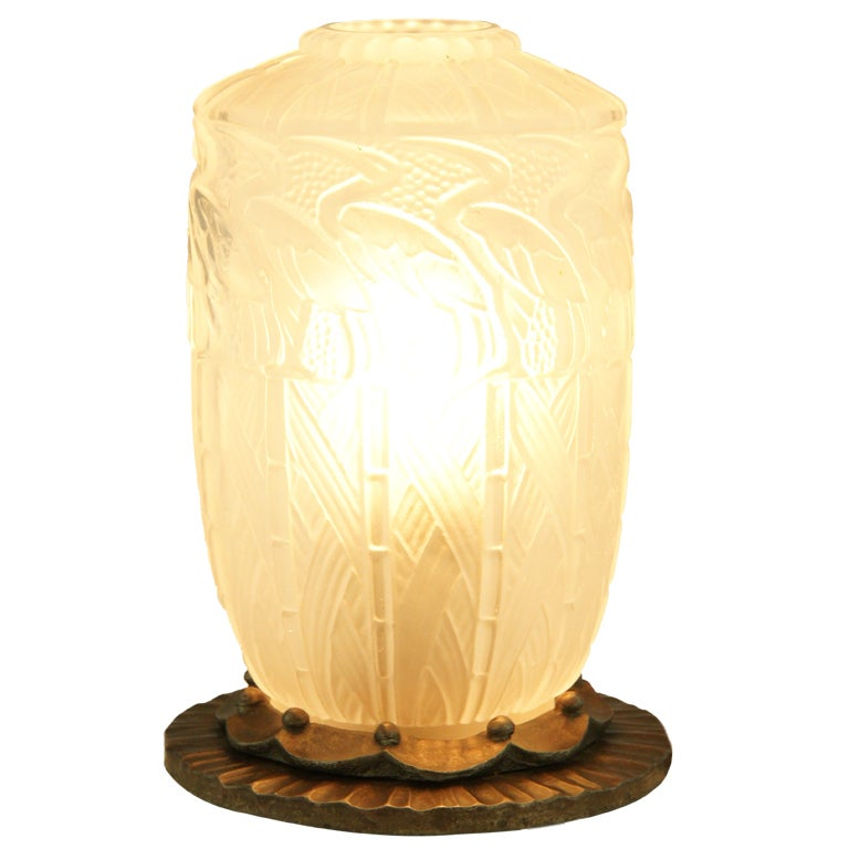 This american art nouveau table lamp is no longer available - Art Deco Robj Glass And Iron Table Lamp Or Perfume Burner