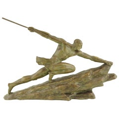 Art Deco Bronze of a Man with a spear by Pierre Le Faguays