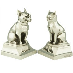Bronze Art Deco Bookends French Bulldog and Cat by H. Vandaele.