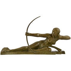Art Deco Bronze Sculpture of a Nude with Bow by Marcel Bouraine
