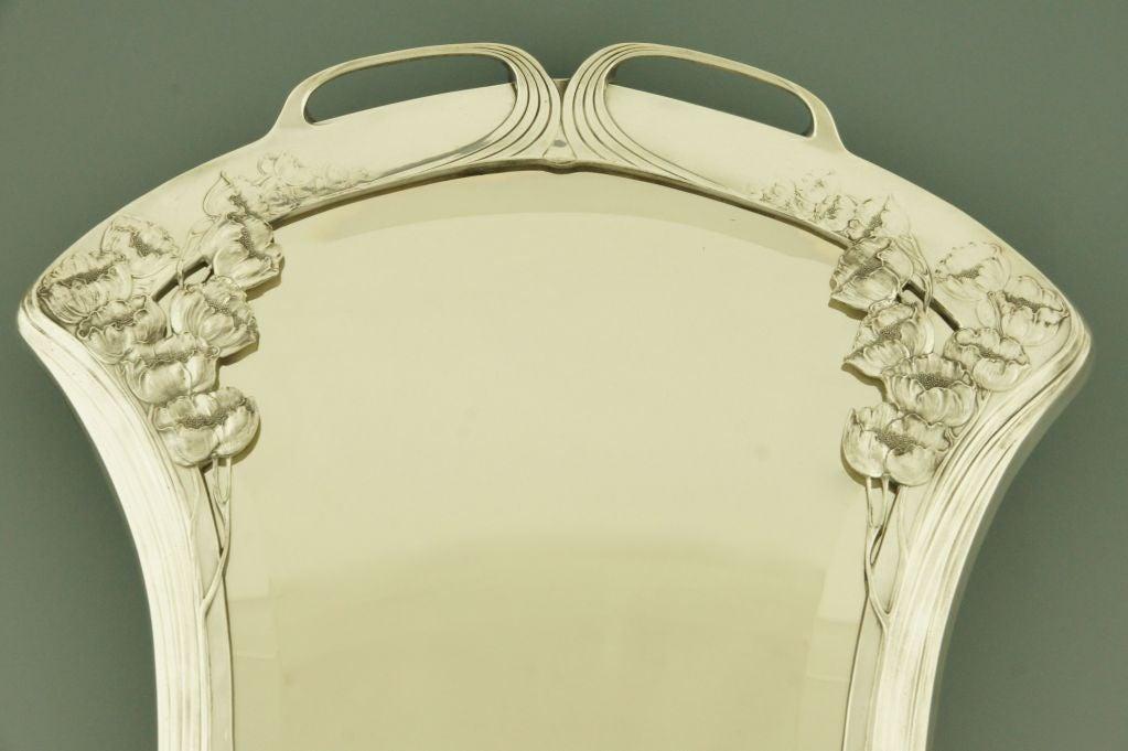 Silvered art nouveau mirror by orivit beveled glass