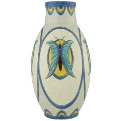 Art Deco Boch Keramis vase with stylized butterflies by Charles Catteau.