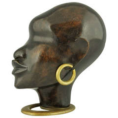 Wooden Sculpture of an African Woman with Earring on Oval Base by F. Hagenauer, 1930