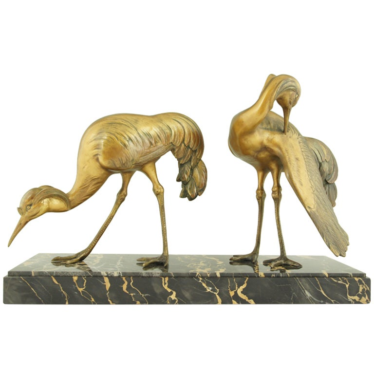 art deco bronze group of crane birds by g h laurent at 1stdibs. Black Bedroom Furniture Sets. Home Design Ideas