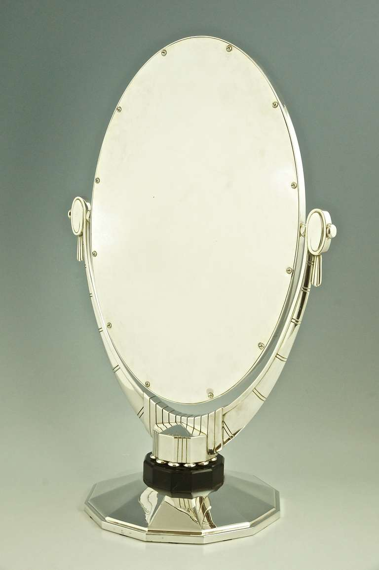 an oval art deco mirror with beveled glass by atelier raynaud france at 1stdibs. Black Bedroom Furniture Sets. Home Design Ideas