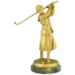 Art Deco Bronze Lady Golfer by José Dunach.