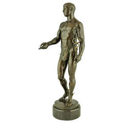 Antique Bronze of Hermes or Mercurius by Rudolf Kaesbach, Germany