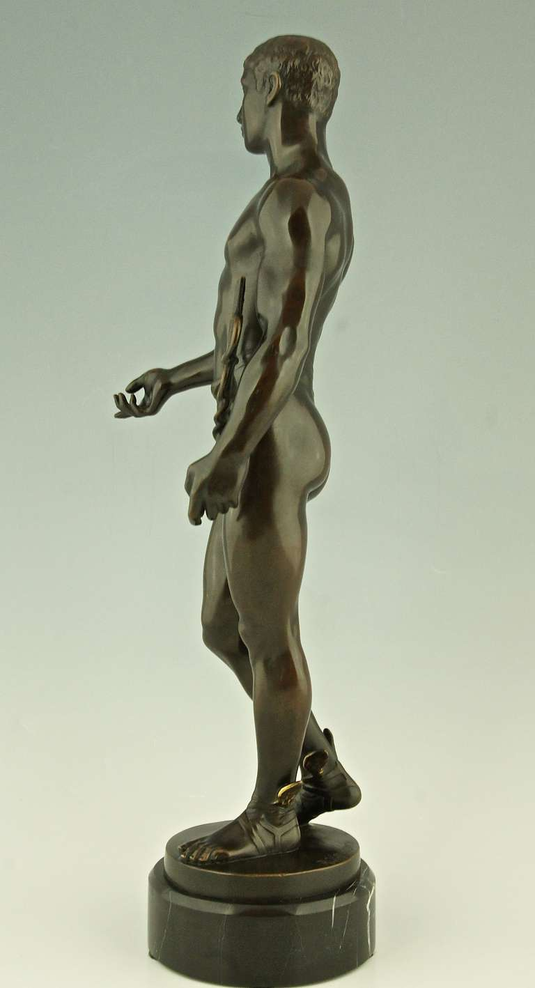 Romantic Antique Bronze of Hermes or Mercurius by Rudolf Kaesbach, Germany