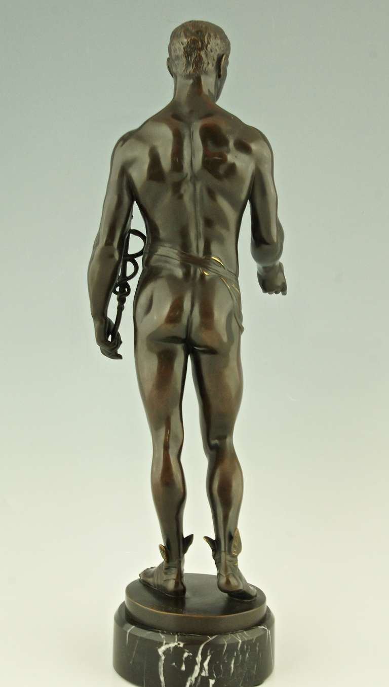 Antique Bronze of Hermes or Mercurius by Rudolf Kaesbach, Germany In Good Condition In Antwerp, BE