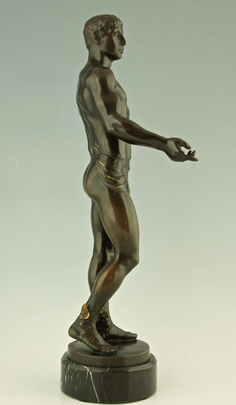 20th Century Antique Bronze of Hermes or Mercurius by Rudolf Kaesbach, Germany