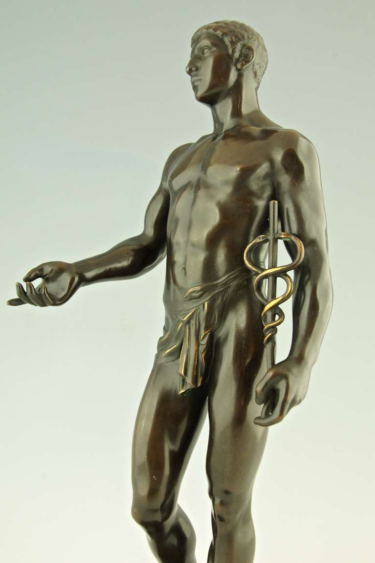 Antique Bronze of Hermes or Mercurius by Rudolf Kaesbach, Germany 4