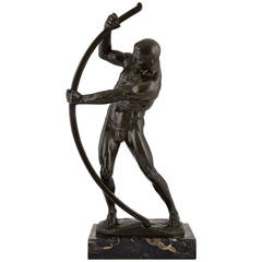 Art Deco Bronze Sculpture Male Nude with Bow by Muller Crefeld, 1920