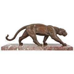 French Art Deco Bronze Sculpture of a Panther by Ouline, 1930