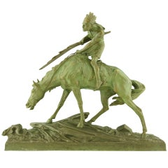 Art Deco Bronze of an Indian on a Horse by Edouard Drouot