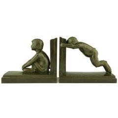Art Deco Bronze Satyr Bookends By Paul Silvestre, Susse Fréres