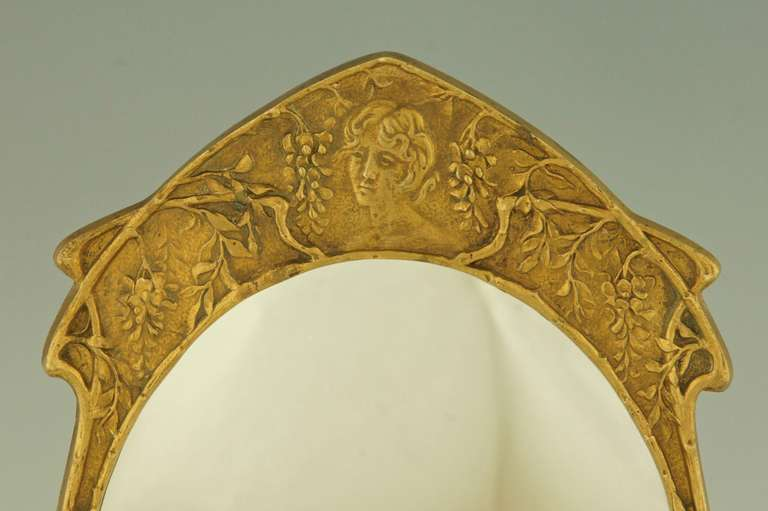Art Nouveau gilt bronze table mirror, France ca. 1900. at 1stdibs