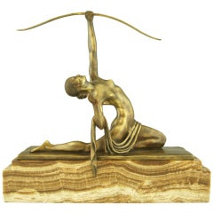 Art Deco bronze sculpture of a female archer by Marcel Bouraine 1930