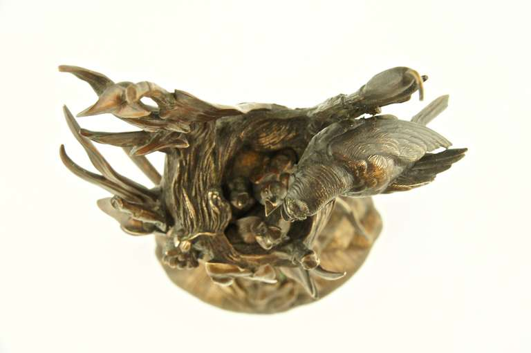 Antique Bronze Sculpture of Birds at a Nest by A. Arson at