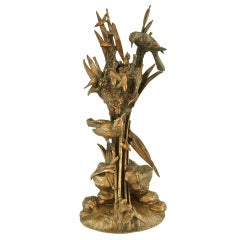 Antique Bronze Sculpture of Birds at a Nest by A. Arson