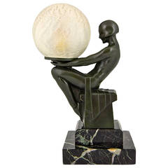 French Art Deco Lamp with Nude by Max Le Verrier, 1930