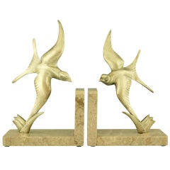 Pair of Bronze Art Deco Swallow Bookends by Alexandre Ouline