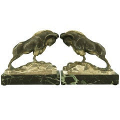 Art Deco Bronze Ibex Bookends By C. Charles, Patrouilleau Ed.