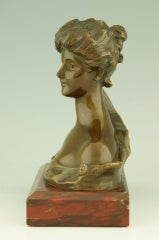 Art Nouveau Bronze Bust By Georges Van Der Straeten, France. image 10