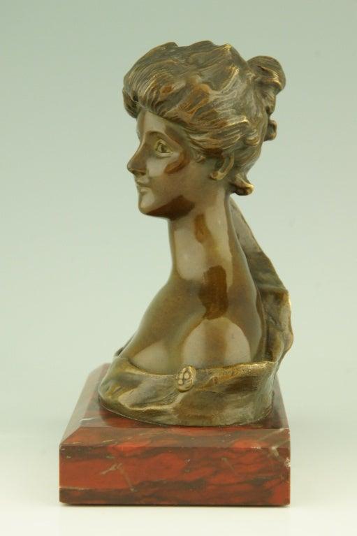 Art Nouveau Bronze Bust By Georges Van Der Straeten, France. 10