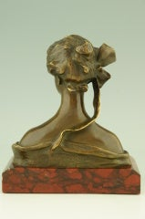 Art Nouveau Bronze Bust By Georges Van Der Straeten, France. image 2