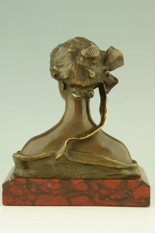 Art Nouveau Bronze Bust By Georges Van Der Straeten, France. 2