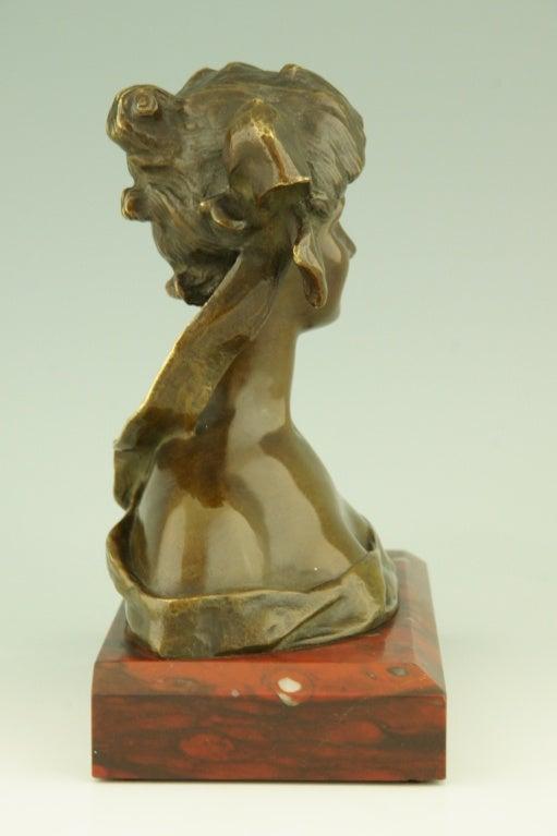 Art Nouveau Bronze Bust By Georges Van Der Straeten, France. 3