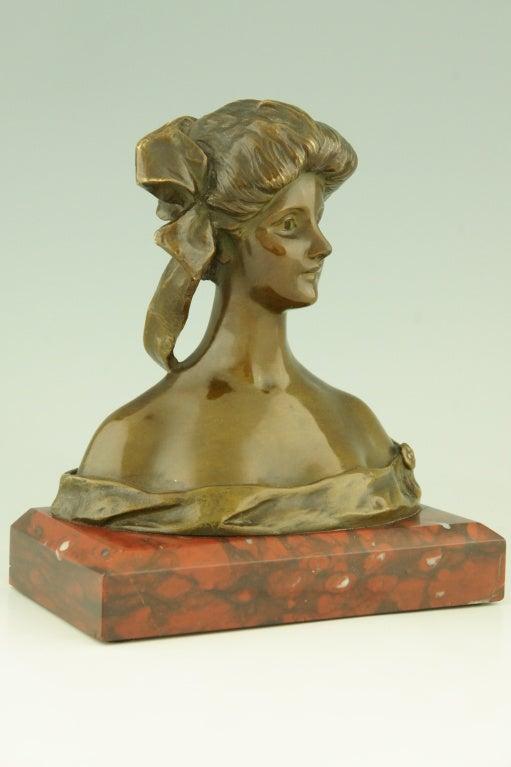 Art Nouveau Bronze Bust By Georges Van Der Straeten, France. 4